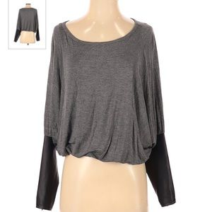 Bebe faux leather sleeve shirt